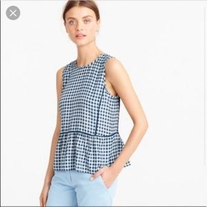 J.Crew Navy Gingham Silk Peplum Top, 8